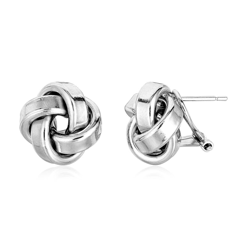 Large Sterling Silver Polished Love Knot Earrings