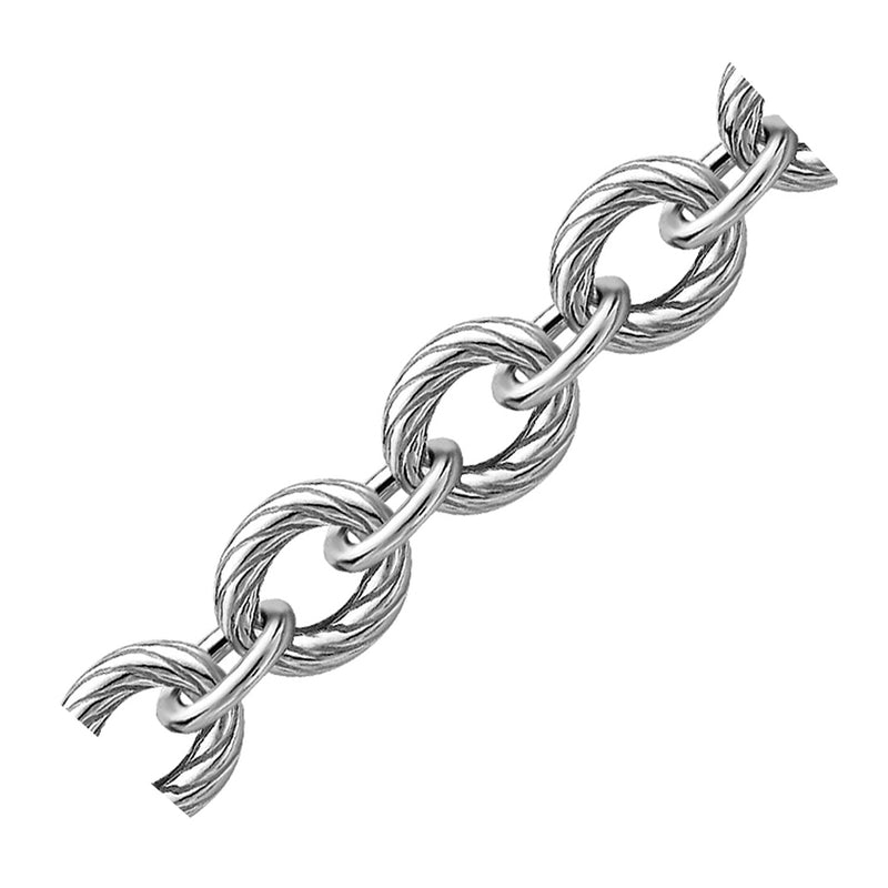 Sterling Silver Diamond Cut Chain Style  Rhodium Plated Bracelet