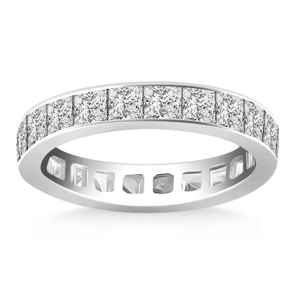 14k White Gold Eternity Ring with Channel Set Princess Cut Diamonds