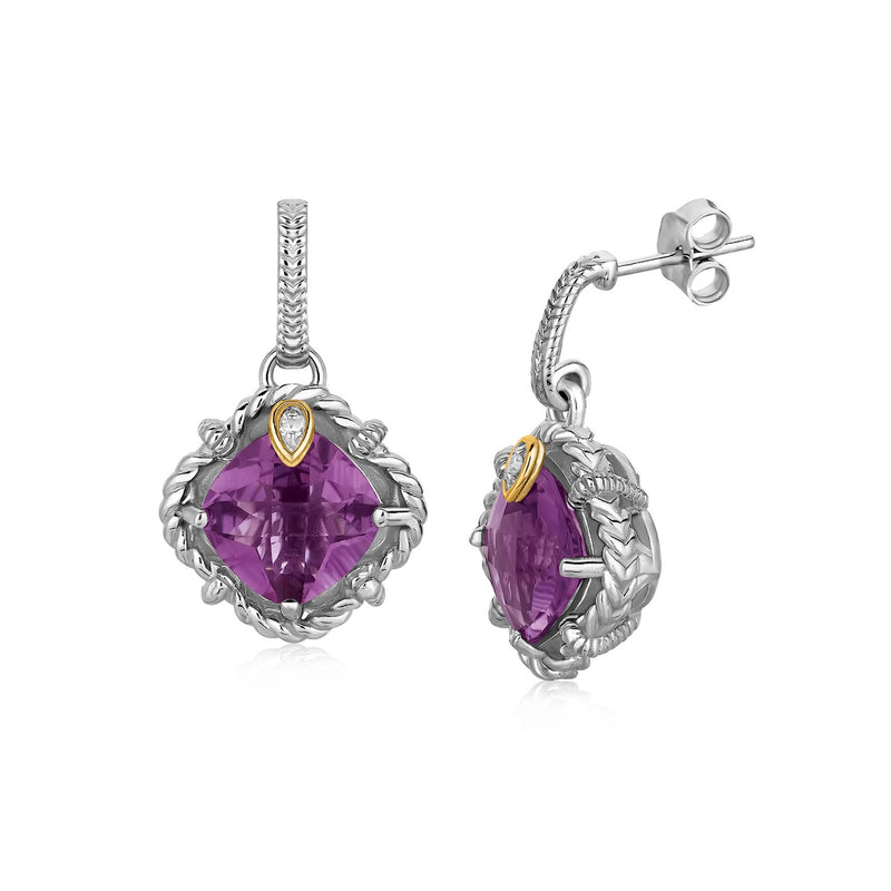 18k Yellow Gold and Sterling Silver Cushion Amethyst and Diamond Earrings