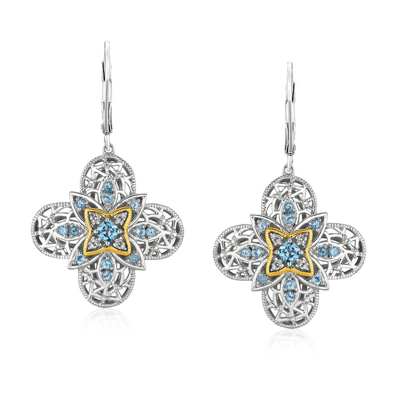 Sterling Silver and 14k Yellow Gold Blue Topaz Quatrefoil Earrings with Diamonds