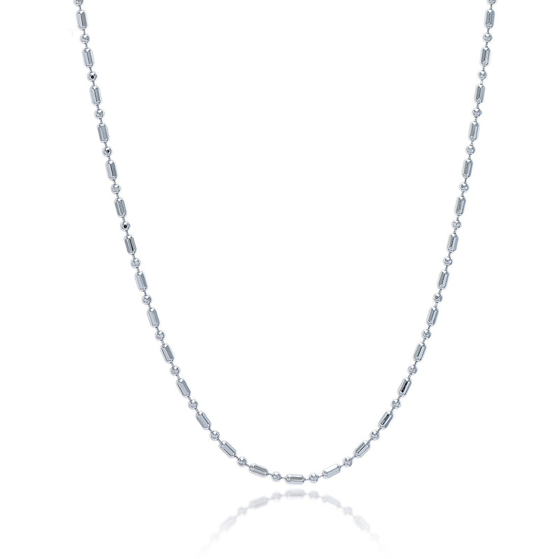 Sterling Silver Rhodium Plated Bead Chain 1.5mm
