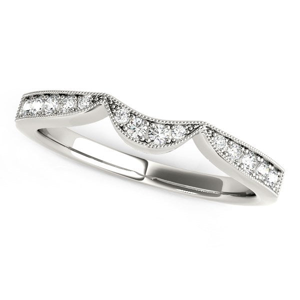 14k White Gold Milgrained Curved Wedding Diamond Band (1/6 cttw)