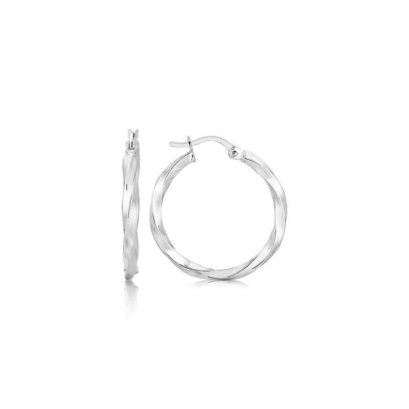Sterling Silver Polished Spiral Motif Hoop Earrings