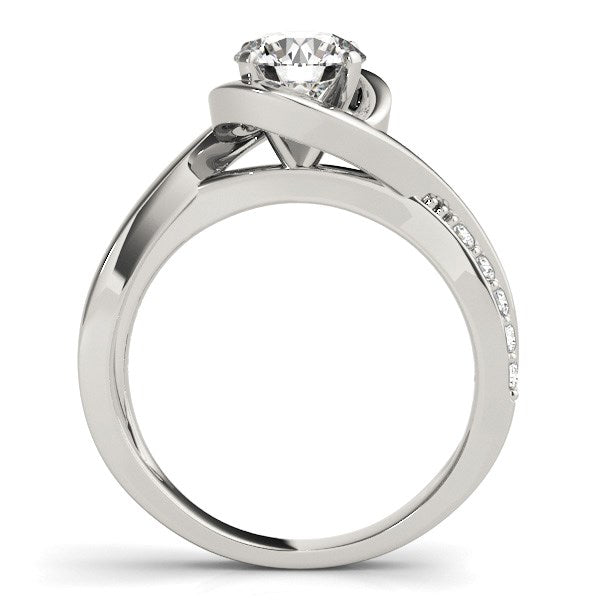 14k White Gold Split Band Round Bypass Diamond Engagement Ring (1 1/8 cttw)