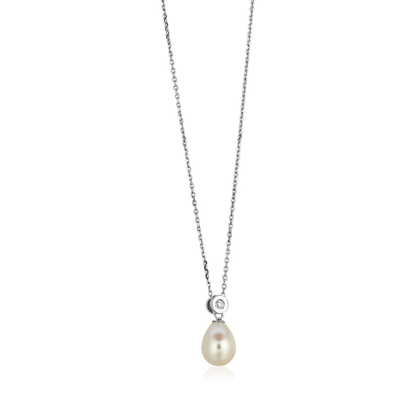 Sterling Silver Necklace with Pear Shaped Pearl and Cubic Zirconias