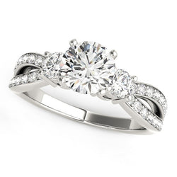 14k White Gold Split Shank Round Diamond Engagement Ring (1 5/8 cttw)