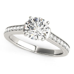 14k White Gold Round Diamond Engagement Ring Band Stones (1 1/8 cttw)