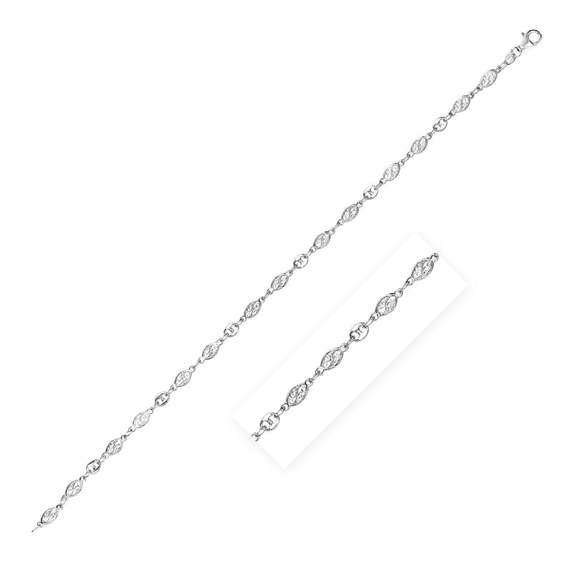 Sterling Silver Anklet with Marquise Leaf Motifs