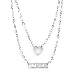Sterling Silver 18 inch Two Strand Necklace with Heart and Mom Charms