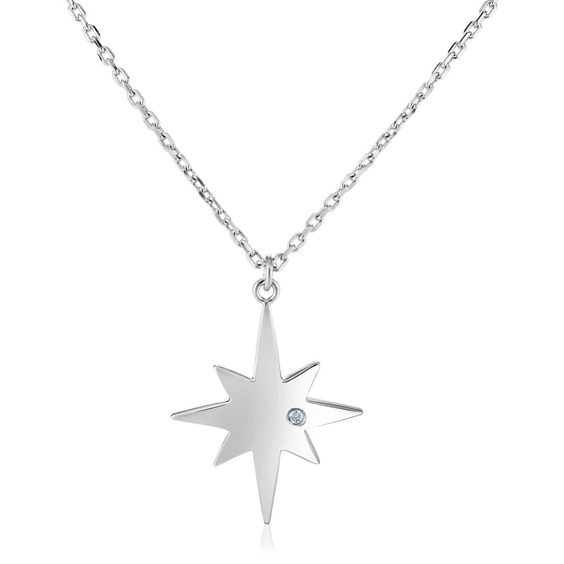 Sterling Silver 18 inch Necklace with Polished Star with Diamond