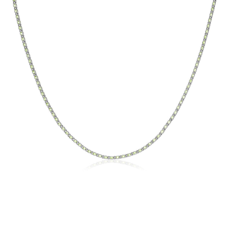 Sterling Silver 18 inch Necklace with Pale Green Cubic Zirconias
