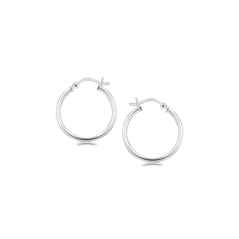 Sterling Silver Polished Thin Hoop Earrings with Rhodium Plating (20mm)