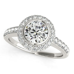 14k White Gold Pave Style Diamond Engagement Ring (1 3/8 cttw)