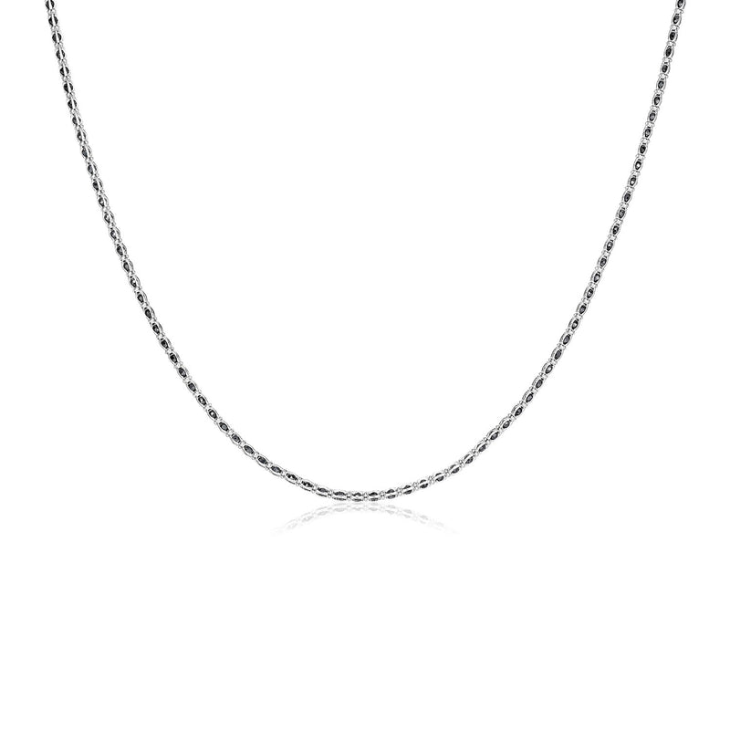 Sterling Silver 18 inch Necklace with Black Cubic Zirconias