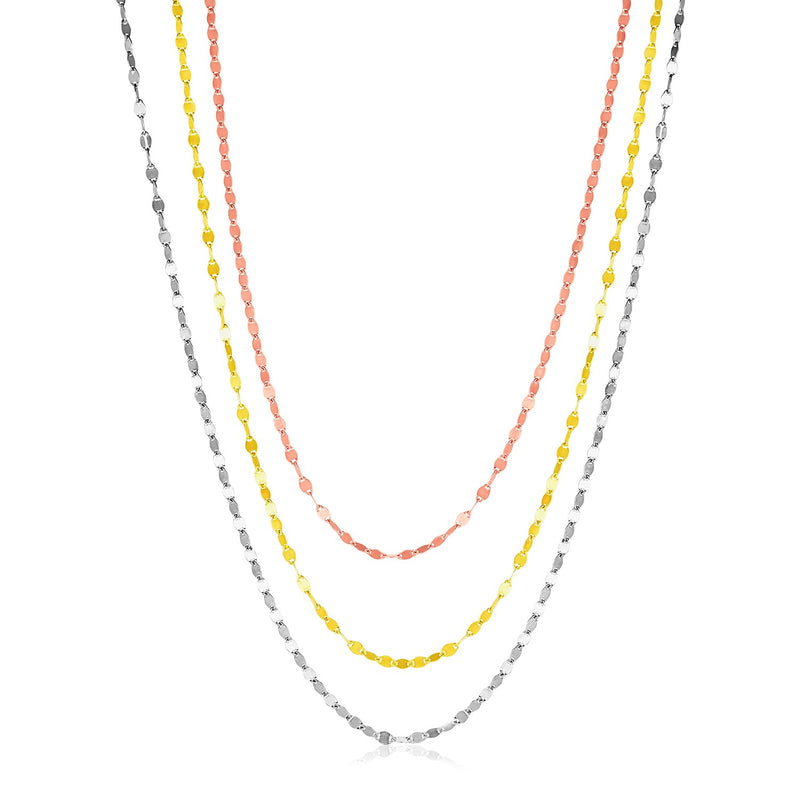 Sterling Silver Three Toned Three Strand Polished Chain Necklace