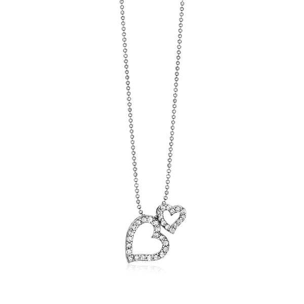 Sterling Silver Necklace with Two Open Hearts and Cubic Zirconias
