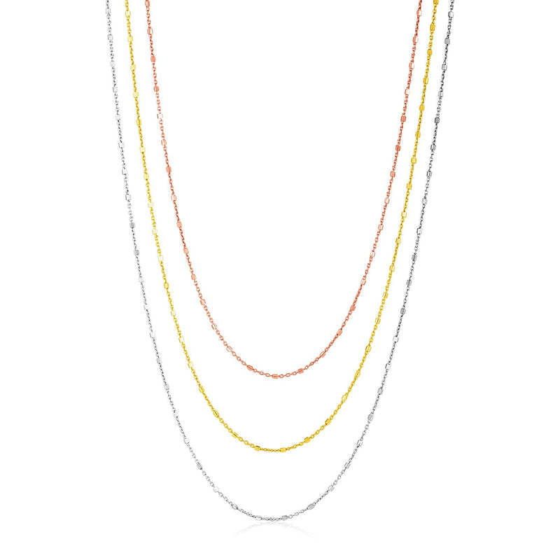 Sterling Silver Three Toned Three Strand Fine Chain Necklace