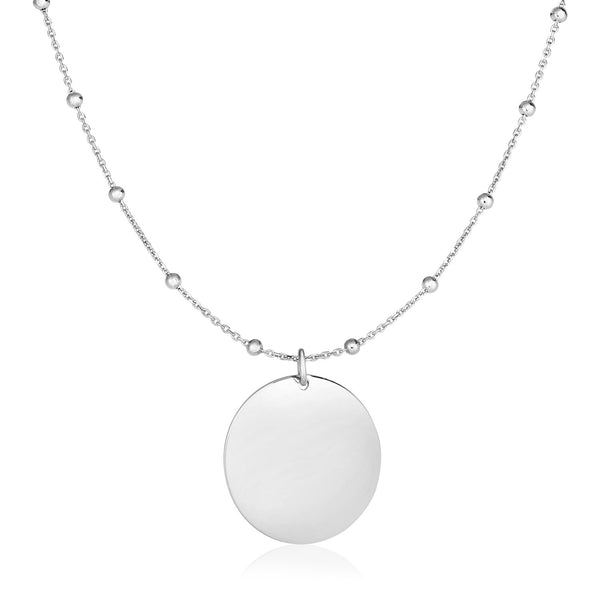 Sterling Silver 18 inch Necklace with Polished Round Pendant