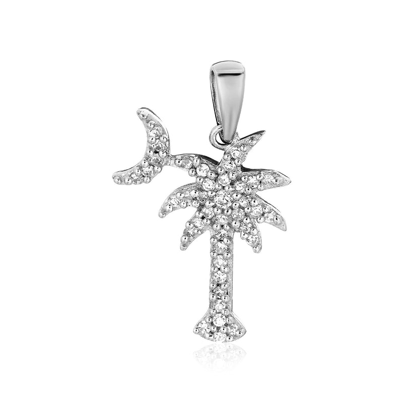 Sterling Silver Palm Tree and Crescent Moon Pendant with Cubic Zirconias