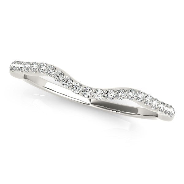 14k White Gold Curvy Style Wedding Ring with Round Diamonds (1/8 cttw)