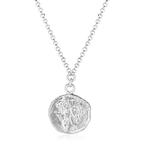 Sterling Silver 18 inch Necklace with Roman Coin Pendant
