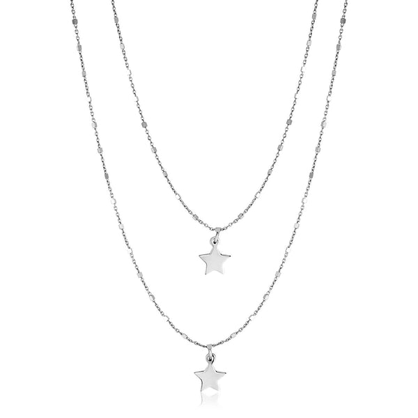Sterling Silver Two Strand Necklace with Polished Star Pendants
