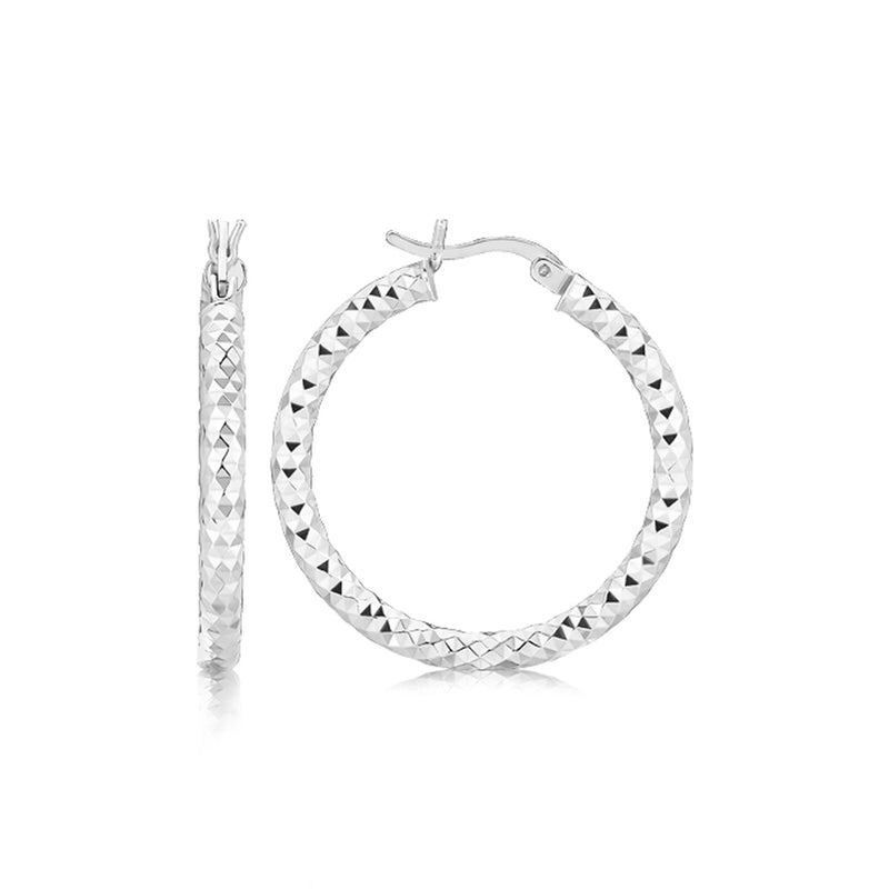 Sterling Silver Rhodium Plated Faceted Style Medium Hoop Earrings