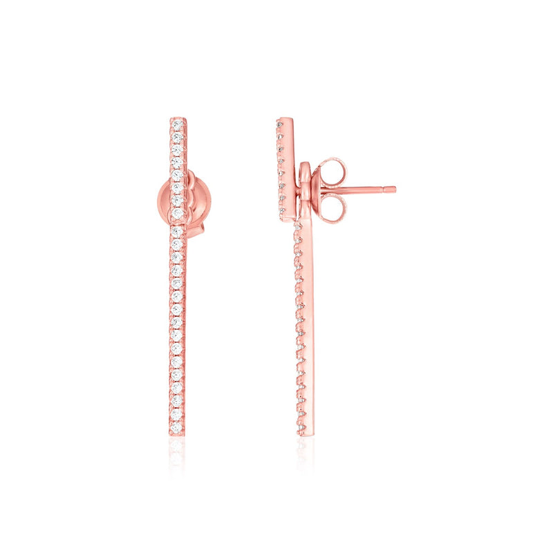 Sterling Silver Rose Finish Bar Earrings with Cubic Zirconias
