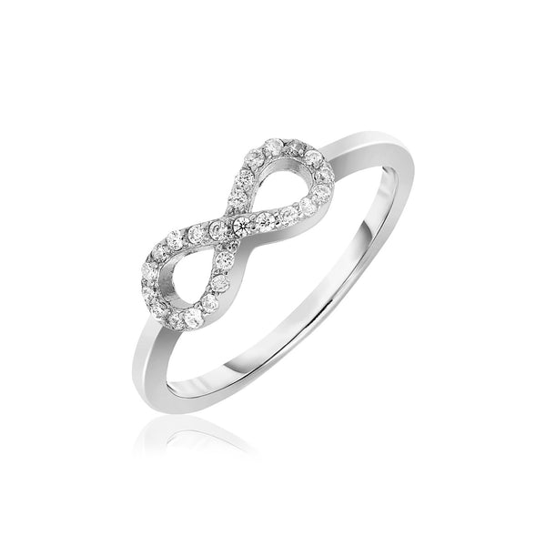 Sterling Silver Infinity Symbol Ring with Cubic Zirconias