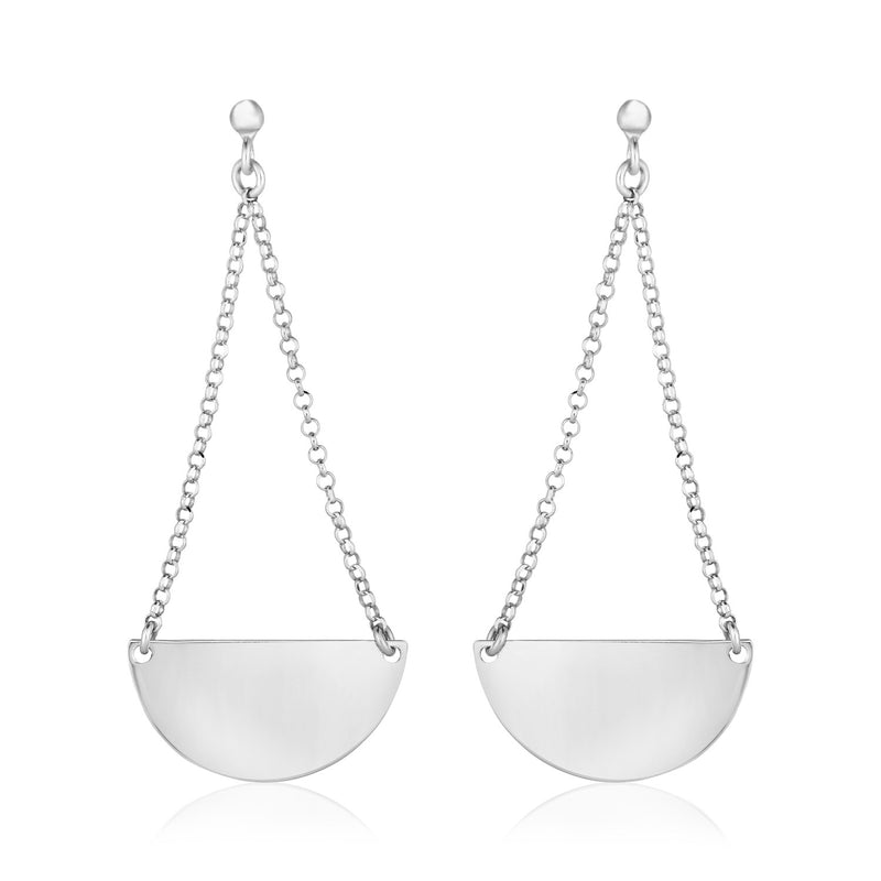 Sterling Silver Polished Half Circle Dangle Earrings