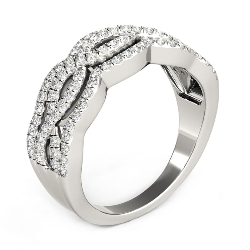 Diamond Studded Ring with Four Curves in 14k White Gold (5/8 cttw)