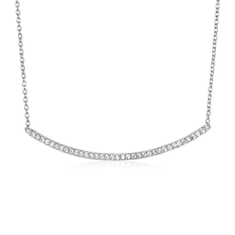 Sterling Silver Curved Bar Necklace with Cubic Zirconias