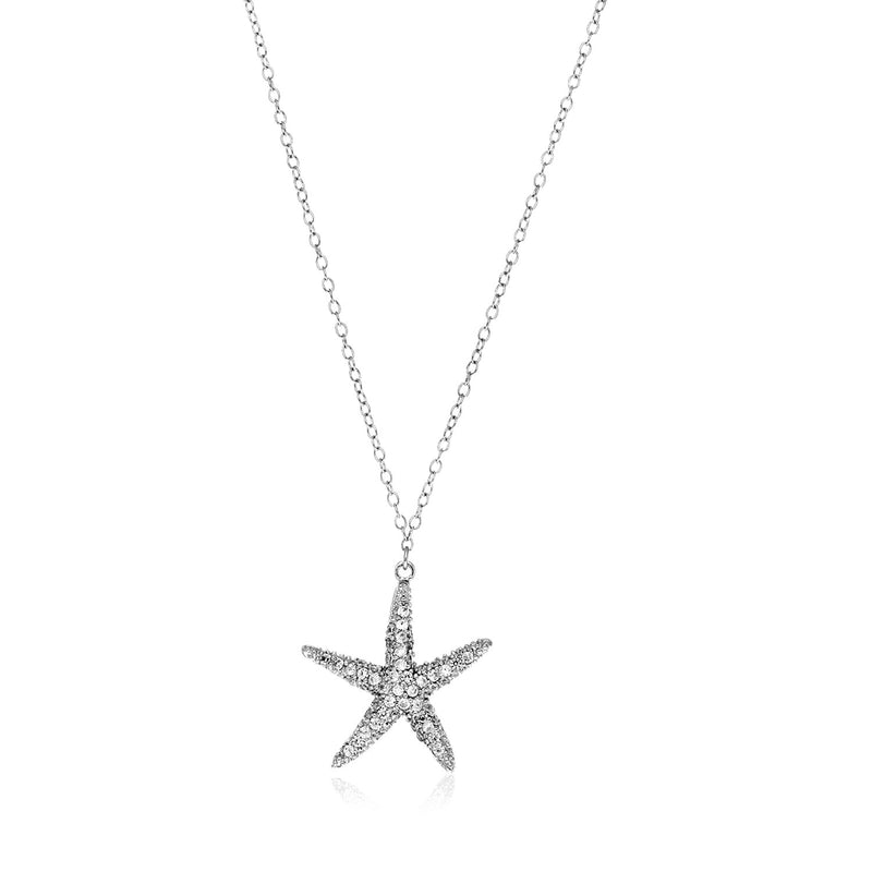 Sterling Silver Large Starfish Necklace with Cubic Zirconias