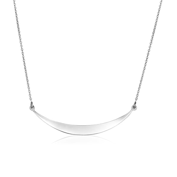 Sterling Silver Polished Curve Necklace