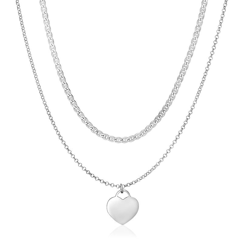 Sterling Silver 16 inch Two Strand Necklace with Polished Heart
