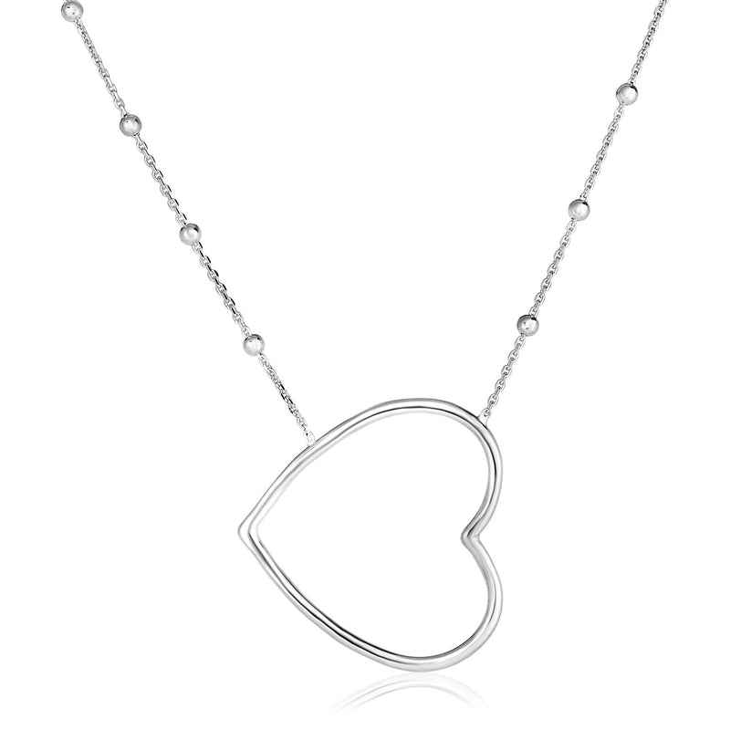Sterling Silver 18 inch Polished Open Heart Necklace