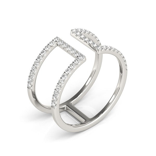 14k White Gold Modern Dual Band Style Diamond Ring (1/2 cttw)