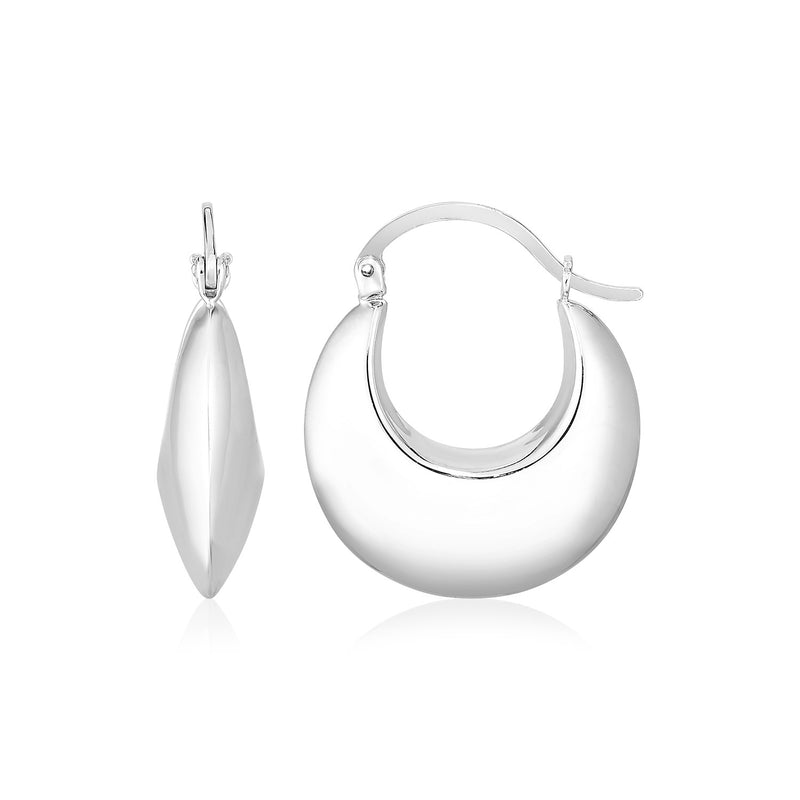 Sterling Silver Polished Puffed Hoop Earrings