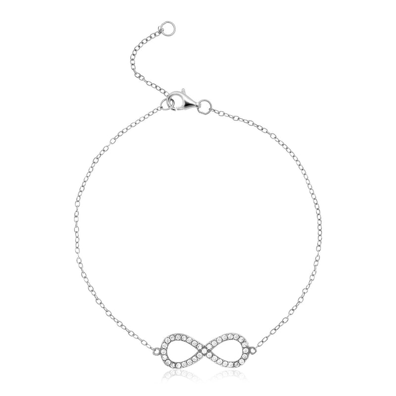 Sterling Silver Infinity Symbol Bracelet with Cubic Zirconias