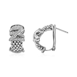 Popcorn Texture Earrings with Crossover Motif and Diamonds in Sterling Silver