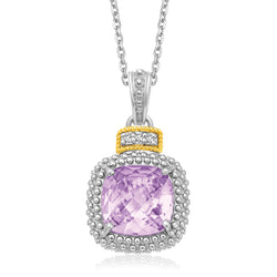 18k Yellow Gold & Sterling Silver Cushion Amethyst and Diamond Pendant
