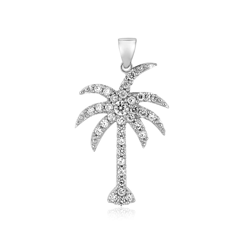 Sterling Silver Palm Tree Pendant with Cubic Zirconias
