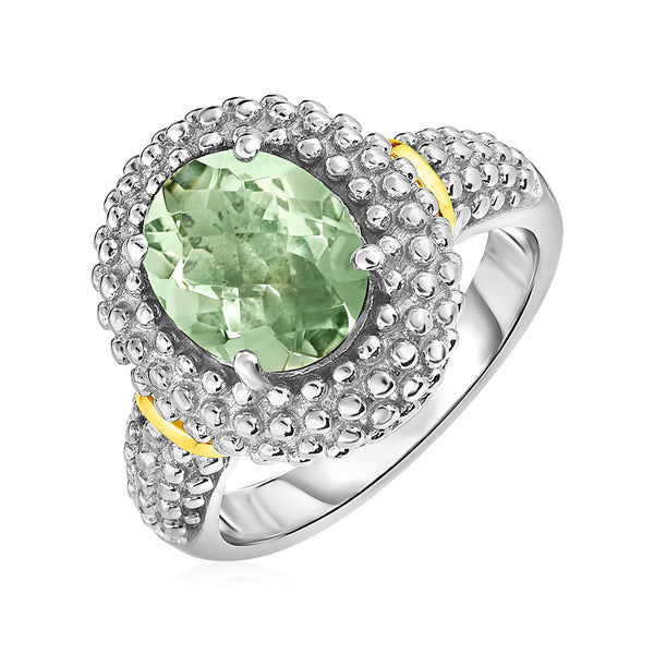 Ring with Oval Green Amethyst in 18k Yellow Gold & Sterling Silver