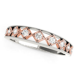 14k White Gold And Rose Gold Unique Diamond Wedding Band (1/10 cttw)