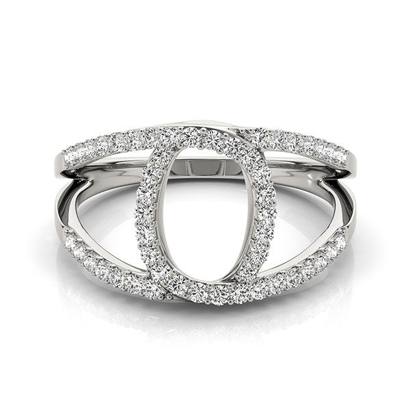 14k White Gold Diamond Loop Style Dual Band Ring (1/2 cttw)