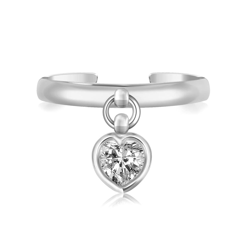 Sterling Silver Rhodium Finished Heart Cubic Zirconia Charm Toe Ring