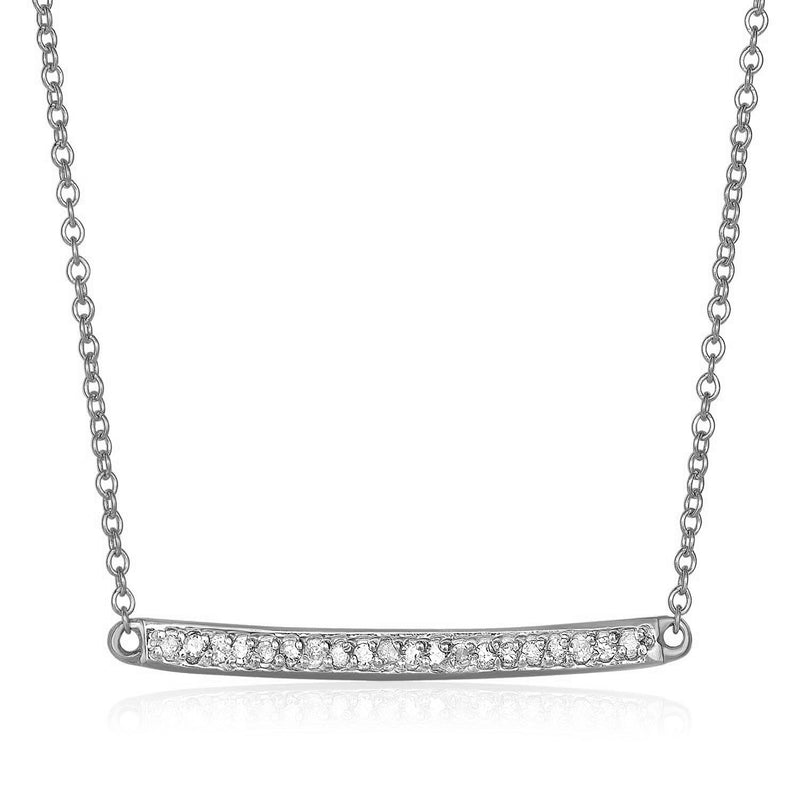 14k White Gold Necklace with Gold and Diamond Bar (1/10 cttw)