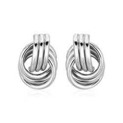 Polished Love Knot Earrings with Interlocking Rings in Sterling Silver
