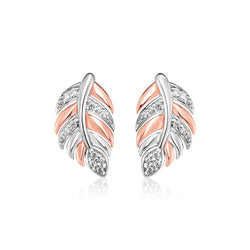Sterling Silver Two Toned Leaf Earrings with Cubic Zirconias